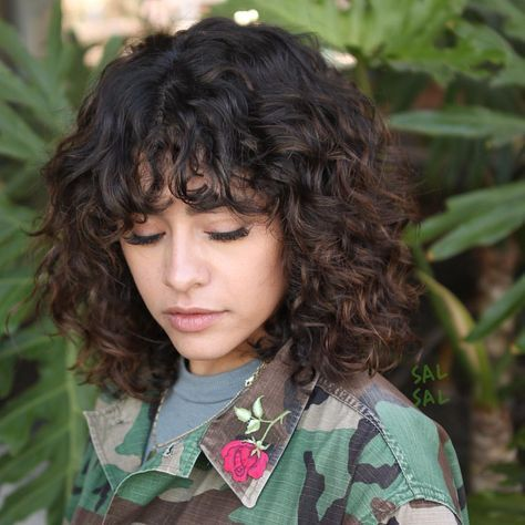 trendy haircut curly bangs shoulder length 46 ideas in