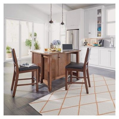 Tahoe Quartz Top Kitchen Island And 2 Stools Aged Maple Home Styles Kitchen Island With Granite Top Granite Tops Home Styles