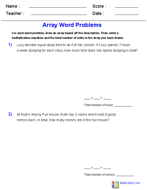 Word Problems with Arrays Worksheets | jojo school | Pinterest ...