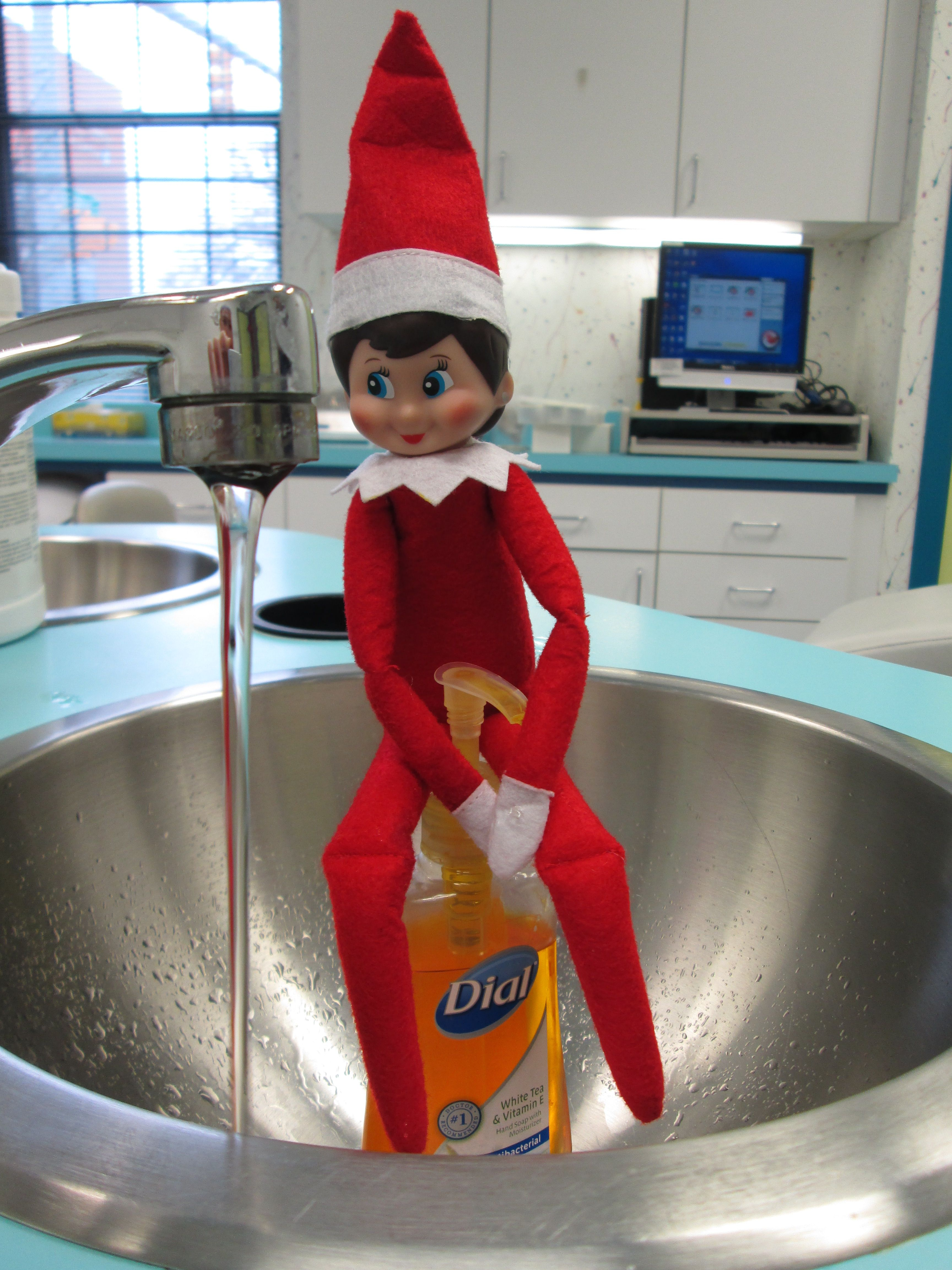 Flu season requires frequent hand washing.  Even for an Elf!