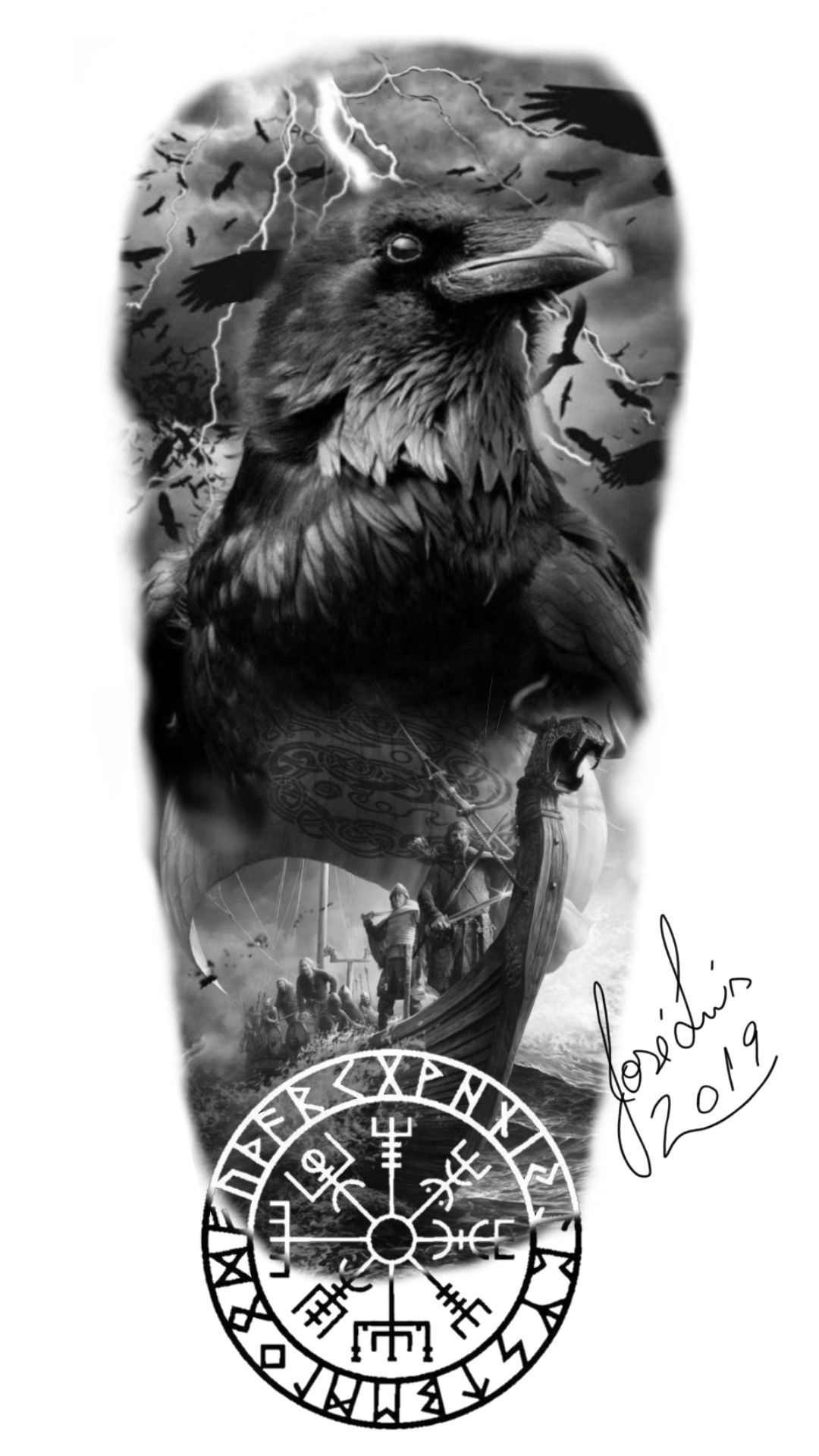 Tattoo vikings crow Odin ship | Tatuagem nórdica ...