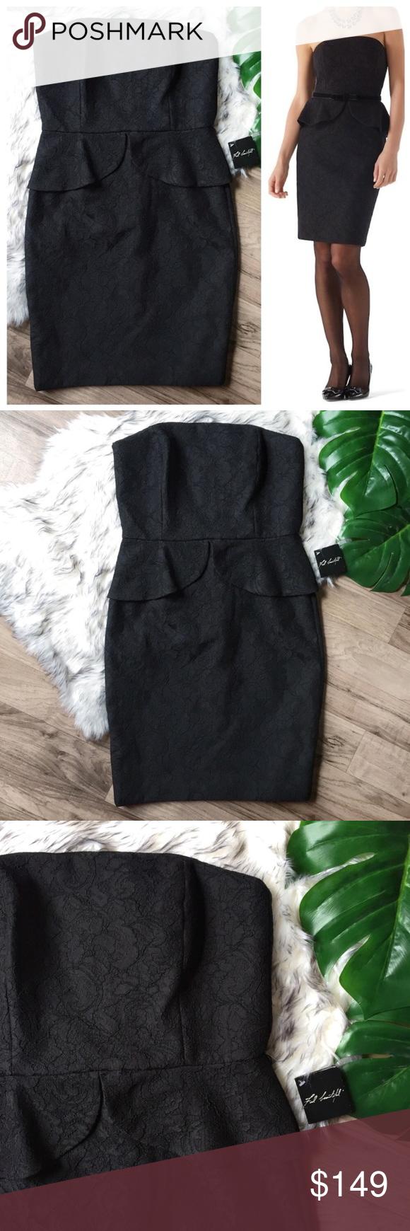 7b0edf83fe NWT WHBM black lace strapless peplum pencil dress NWT White House Black  Market midi dress.