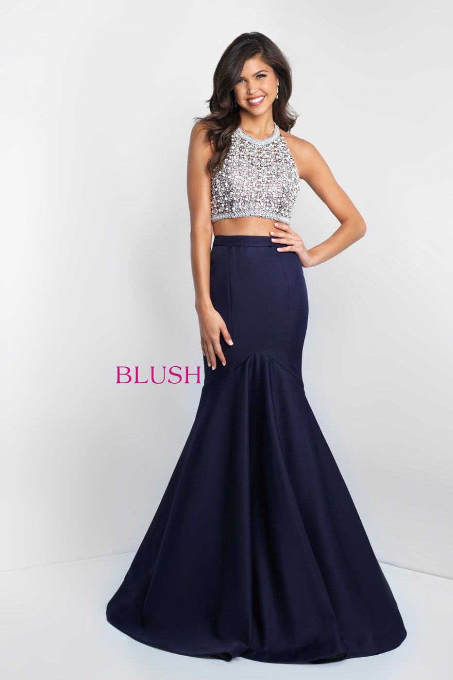 43845f9be2c This  twopiece  Blush C1014 soft  Mikado  prom gown with a  trumpet  silhouette showcases a  halter crop top embellished with  pearls and   crystal beading.