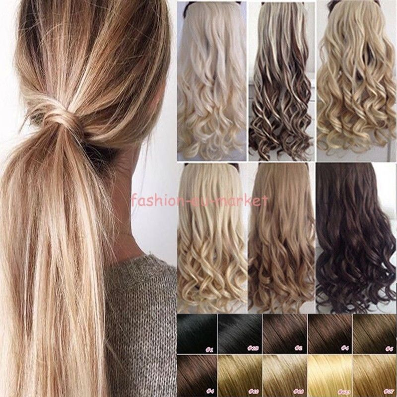 Clip In Hair Extensions Deluxe Thick Ponytail Wrap Around Pony Tail