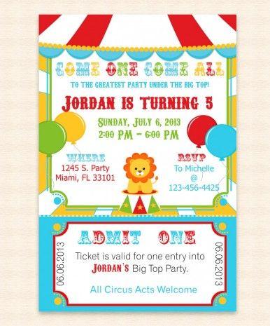 Big Top kidu0027s birthday invitation Kids Birthday Invitations - microsoft birthday invitation templates