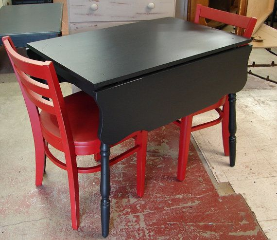 Small Trestle Black Painted Drop Leaf Kitchen Table