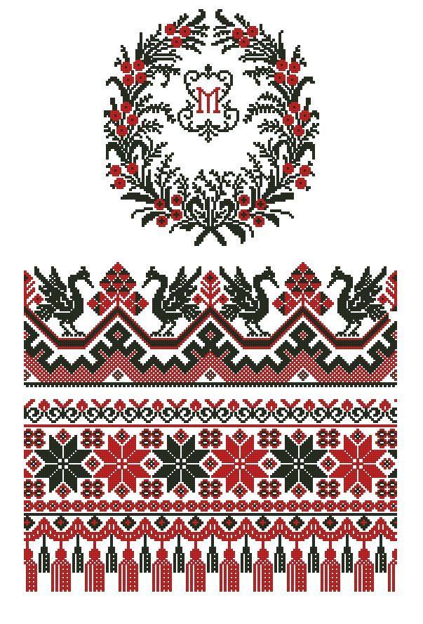 Вышивка крестом украинский рушник схемы вышивки