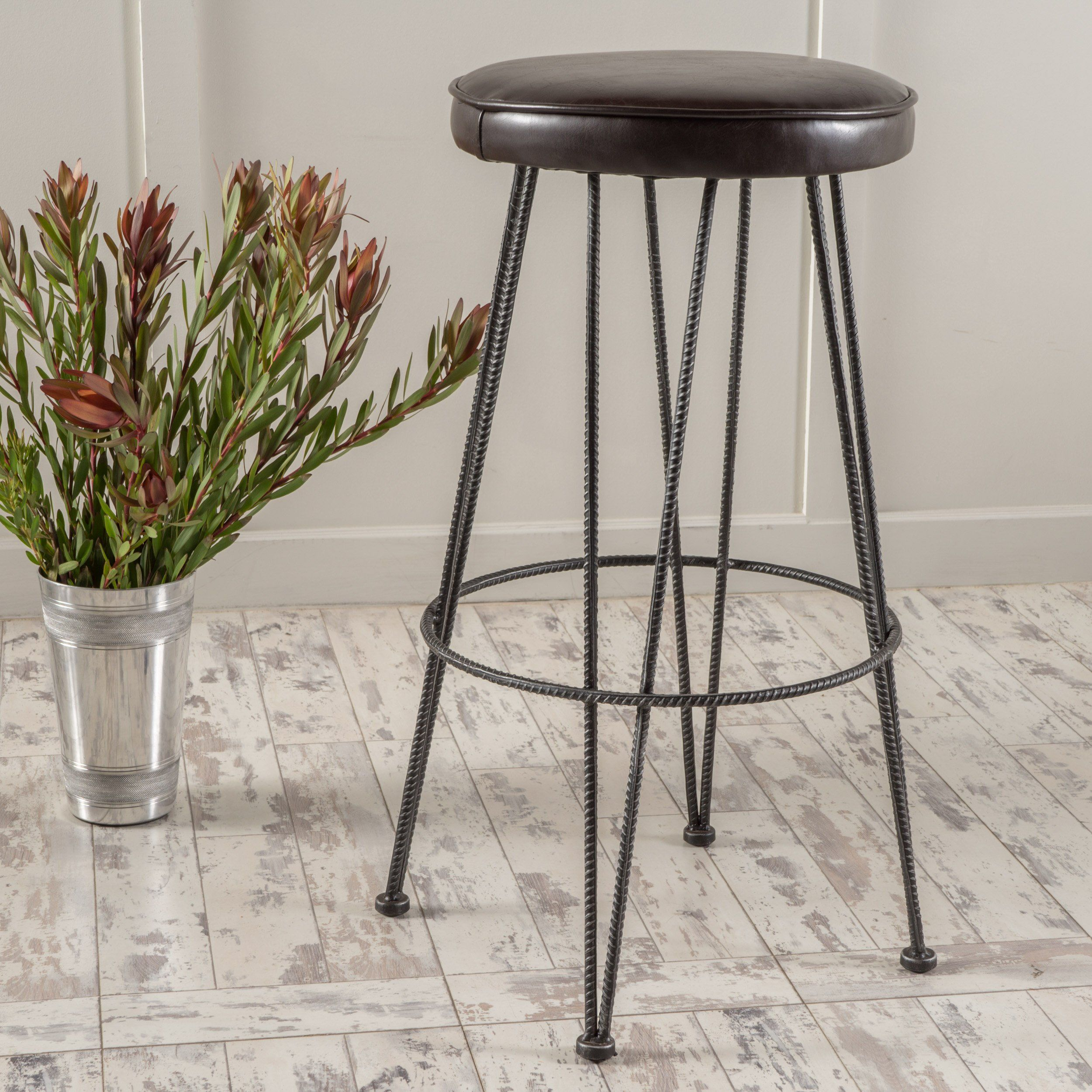 Best Selling Home Anjeli Metal Bar Stool With Cushion, Naturally