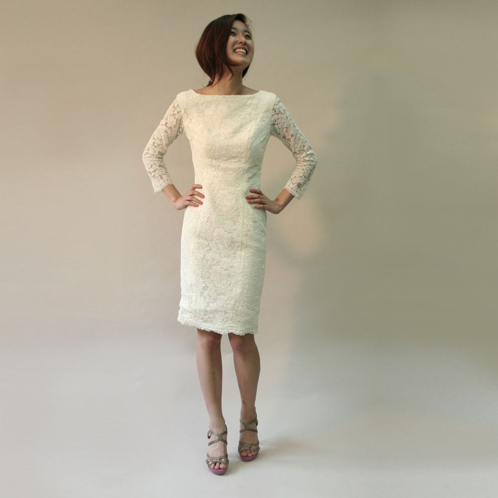 Adored dress by carol hannah short wedding dress with lace sleeves