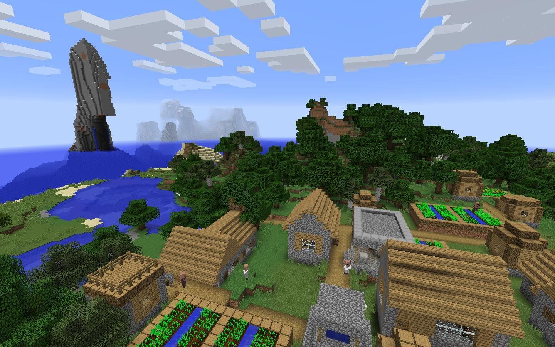Village And Ocean Monument Cool Minecraft Minecraft Seed Village