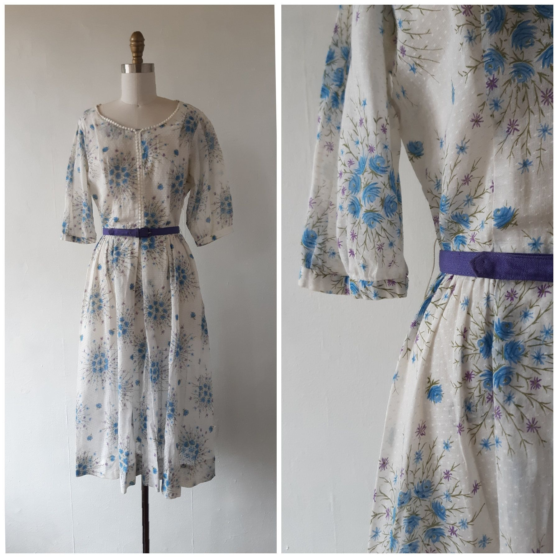 1940s Dress Vintage 1940s Dress With Blue And White Floral Vintage Floral Print Dress Floral Print Dress 1940s Dresses
