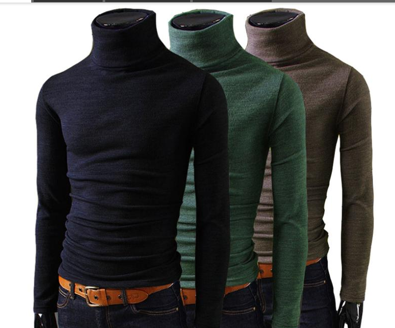 poriff Mens Casual Slim Fit Basic Tops Knitted Thermal Turtleneck Pullover Sweater