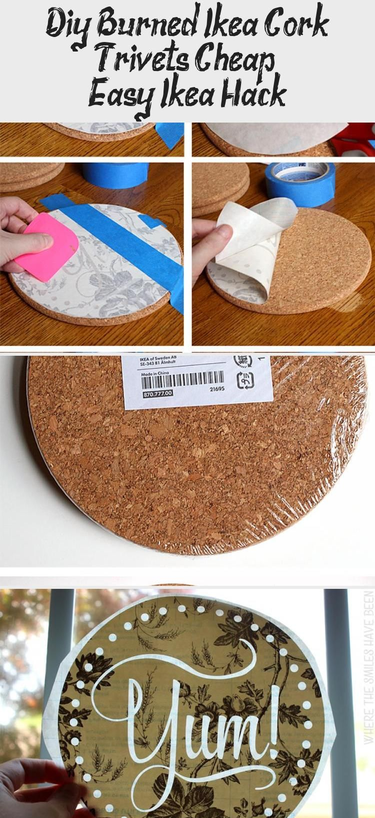 DIY Burned IKEA Cork Trivets: Cheap & Easy IKEA Hack! | Where The Smiles Have Been #IKEA #IKEAhack #cork #corktrivet #corkcoaster #home #corkboard #trivet #coaster #woodburning #pyrography #kitchen #DIYgift #personalizedgift #HomeDecorDIYVideosBedroom #HomeDecorDIYVideosApartment #HomeDecorDIYVideosProjects #HomeDecorDIYVideosCheap #HomeDecorDIYVideosOnABudget