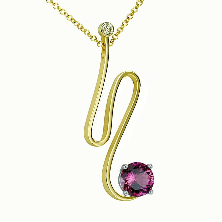 Gordon aatlo designs k pink tourmaline and diamond pendant pink