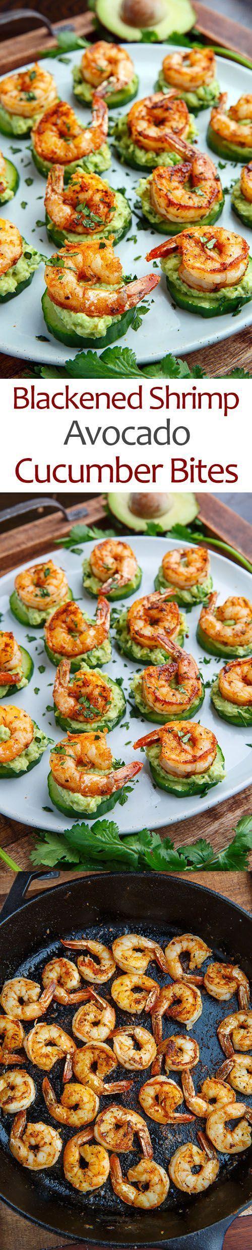 Geschwärzte GarnelenAvocadoGurke beißt #healthyshrimprecipes