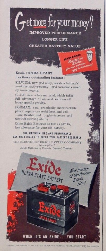 Exide Battery  50 s print ad  Color Illustration   ultra start  original 1952 Life Magazine Art