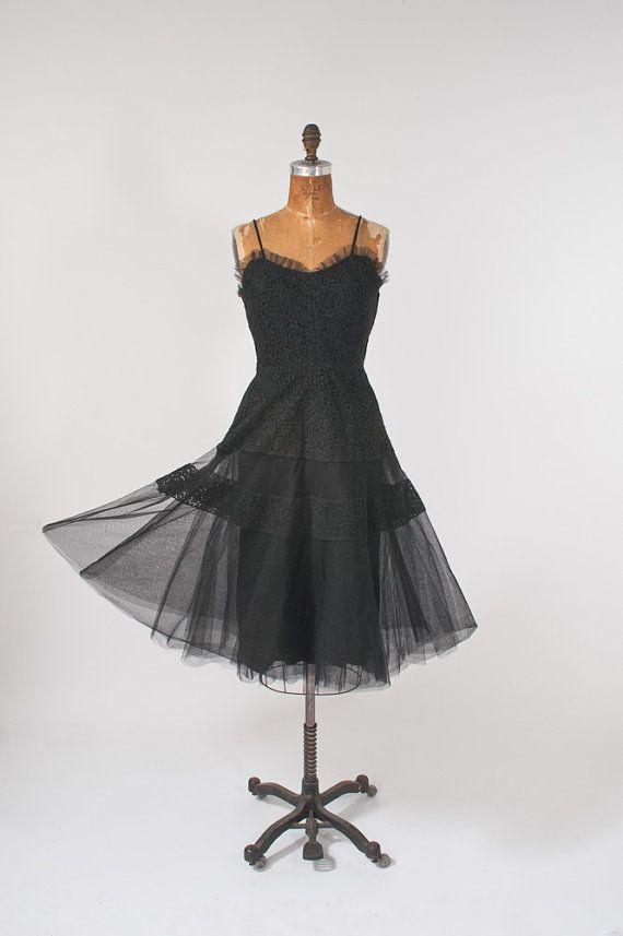 1950's Black Lace Cocktail Sleeveless Wide Sheer by missfarfalla, $145.00