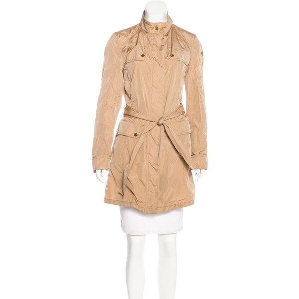 Pre-owned Moncler Melissa Belted Raincoat ($375) ❤ liked on Polyvore featuring outerwear