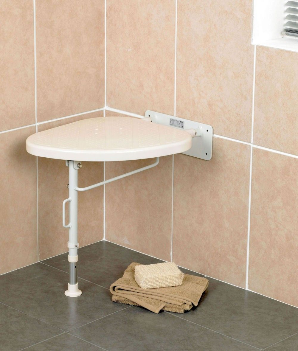 Fold Down Corner Shower Seat (Drop Down Leg) - RIGHT. Could hook on ...