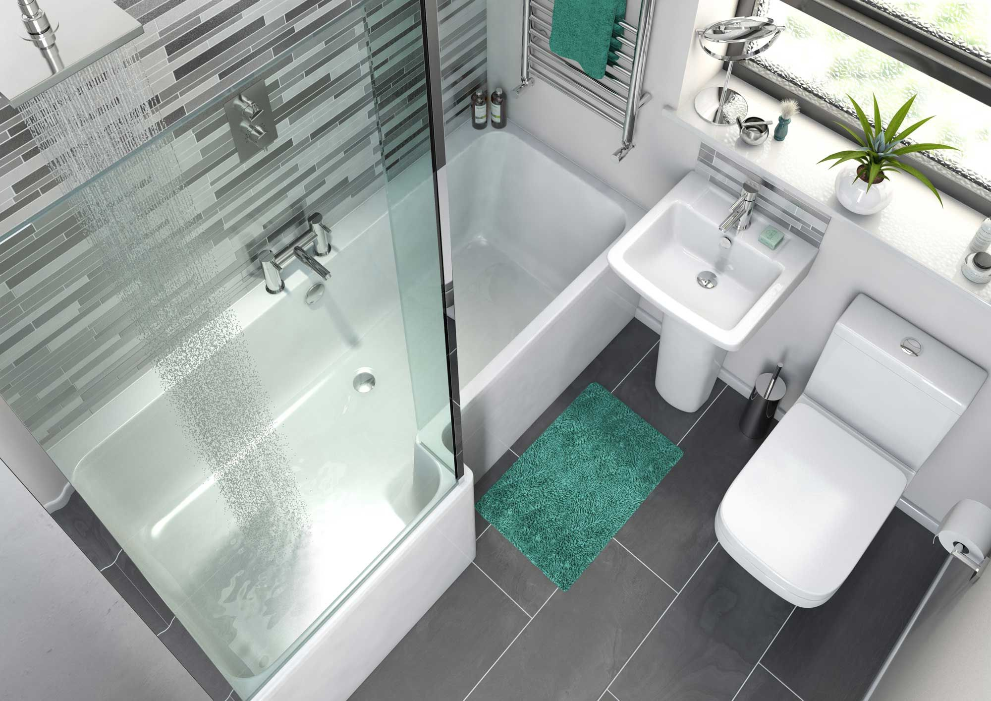 Small bathroom suite perfect for uk bathrooms and for Small square bathroom ideas