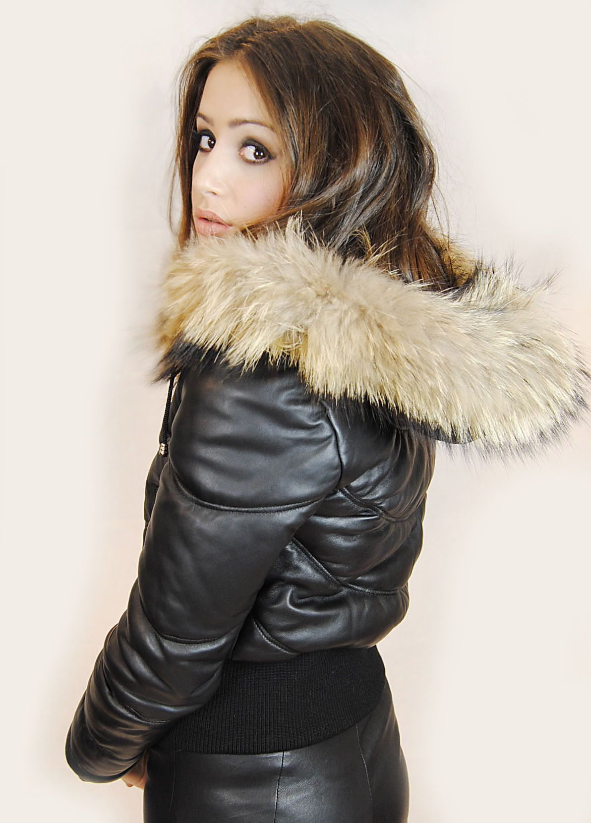 Jessimara Black Leather Puffer Bomber Coat With Raccoon Fur Trim Leather Jacket With Hood Bomber Coat Leather Jackets Women [ 1660 x 1192 Pixel ]
