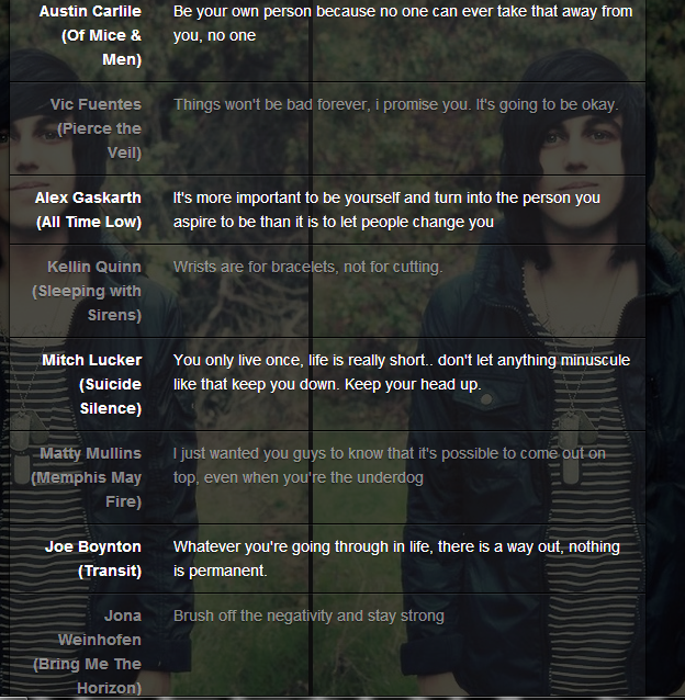 Emo Quotes About Suicide: This Is What I Love About These Bands. They're So