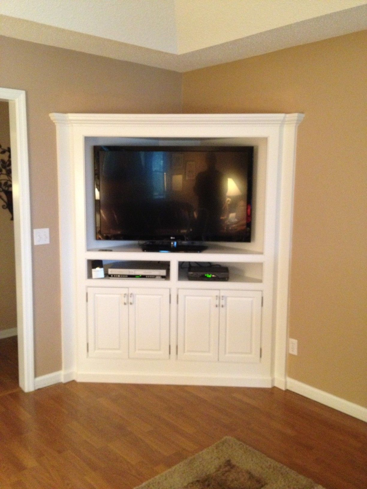 built in corner tv cabinet   counter refinished