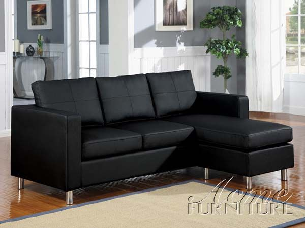 Kemen Black Bycast Pu Sectional Sofa 15065 Sectional Sofa