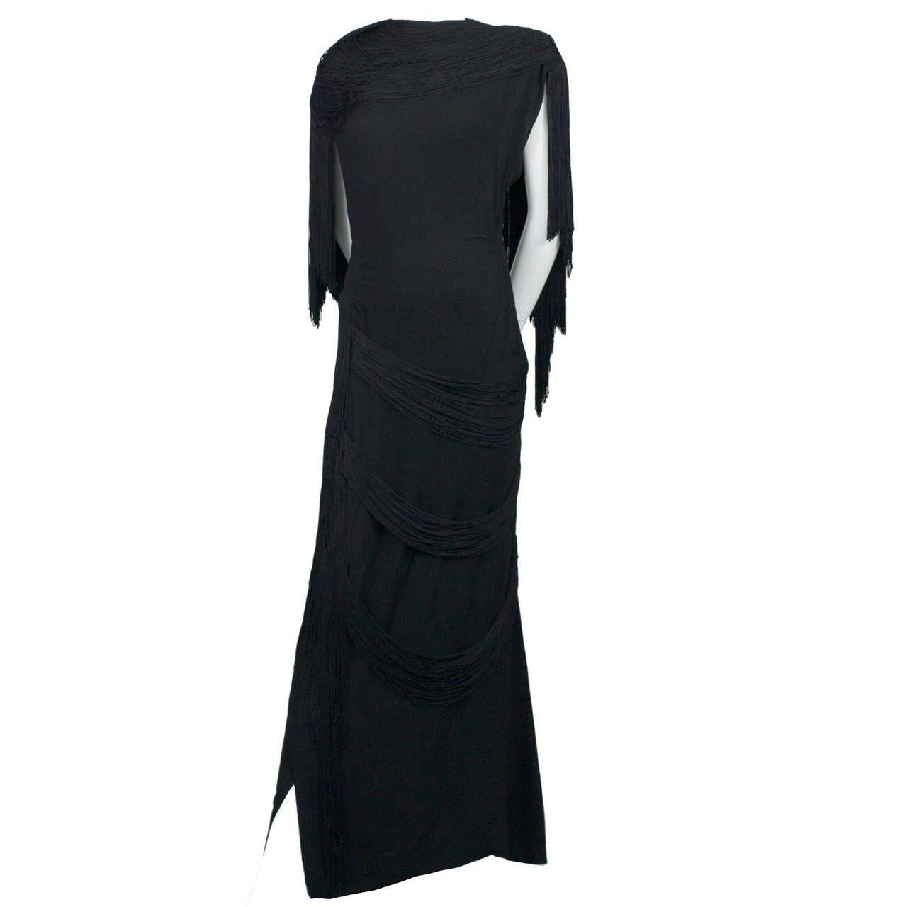Rare custom gilbert adrian vintage dress s black fringe formal