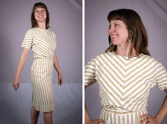 1960s Wiggle Dress / Vintage White and Tan by SweetJubileeGirls, $74.00