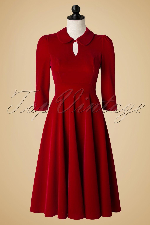 7b1f1e5ca5cd 50s Florence Velvet Swing Dress in Burgundy