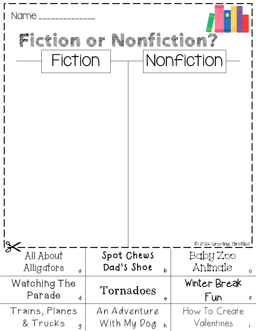 Worksheets Fiction Vs Nonfiction Worksheet freebie mania five for friday in 2018 story elements growing firsties