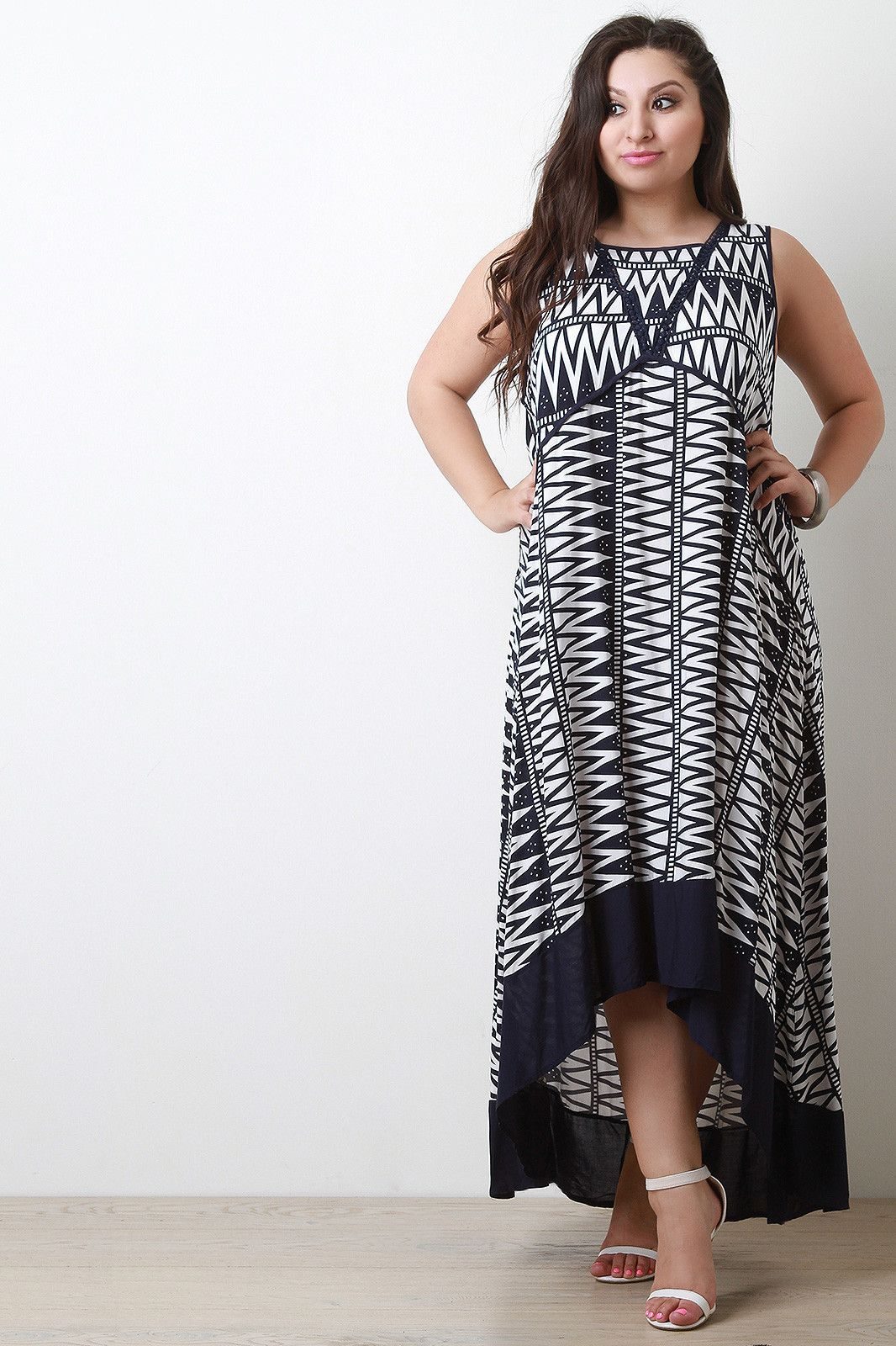 Woven print crochet sleeveless maxi dress products pinterest