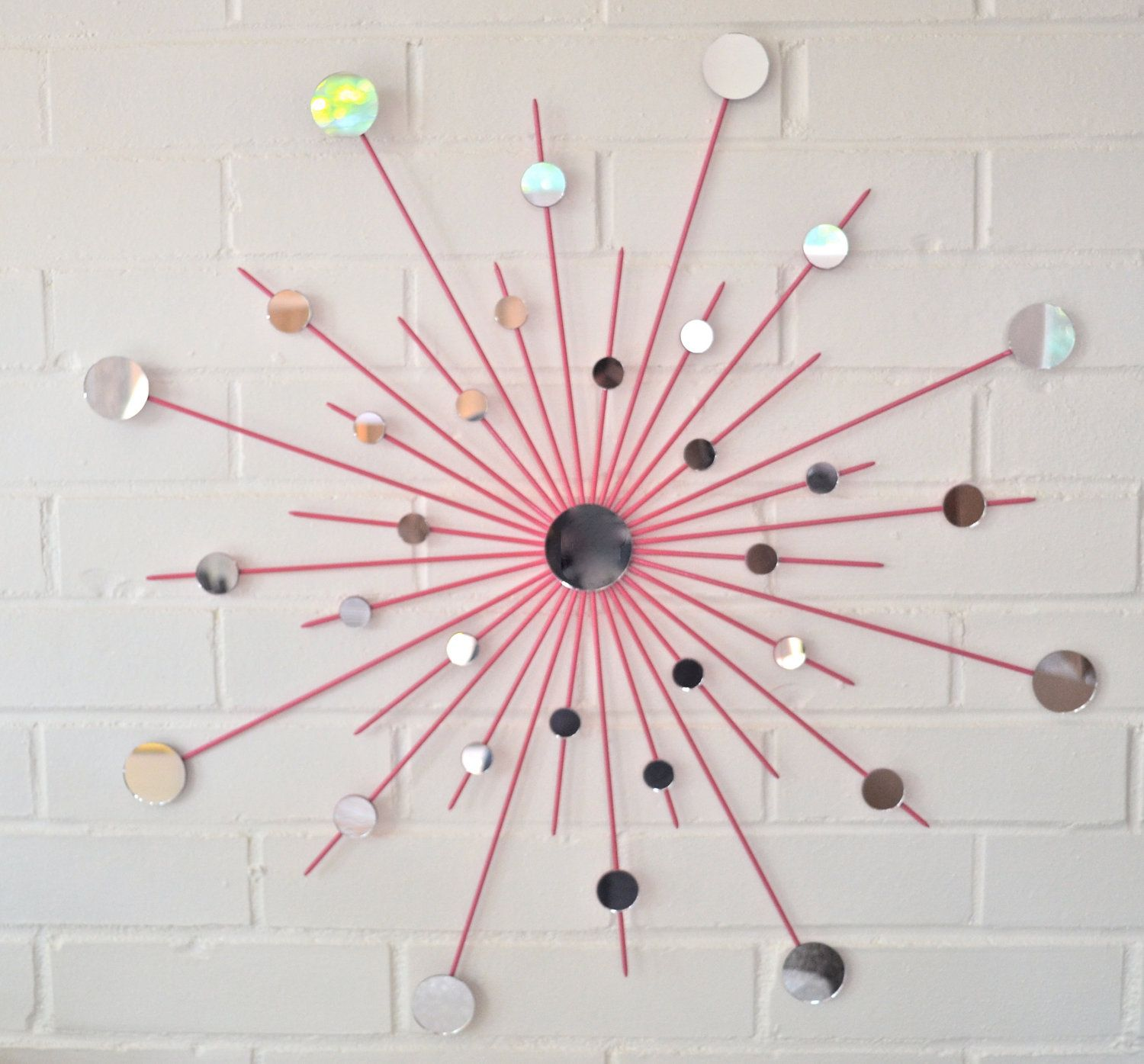 Charmant Starburst Metal Mirror Wall Art In Hot Pink Retro Girls Decor Dorm Room Via  Etsy.