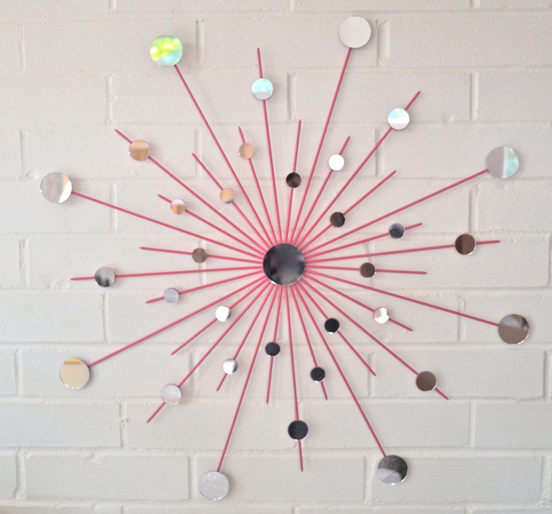 Starburst Metal Mirror Wall Art In Hot Pink Retro S Decor Dorm Room Via Etsy