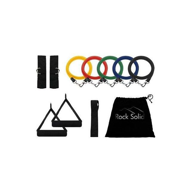 11-Piece Set: Rock Solid Home Workout Resistance Bands