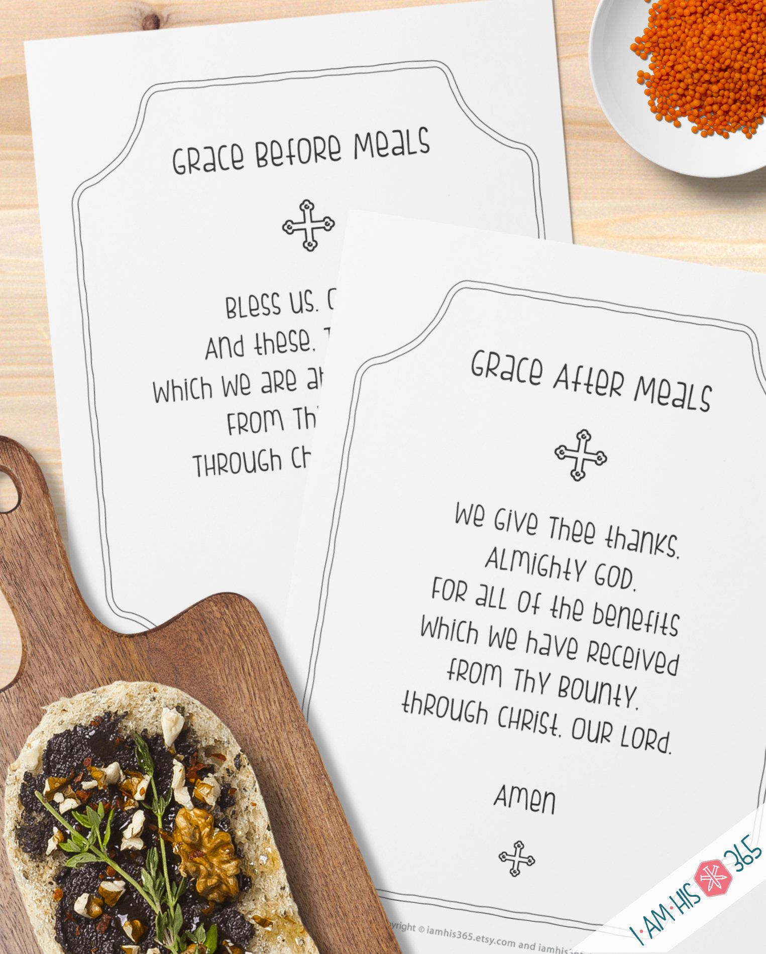 Mealtime Grace Prayer Print Set Of 2 Catholic Prayer Printable Christian Print Lent Pdf Download Catholic Dinner Prayer Christian Prints Dinner Prayer