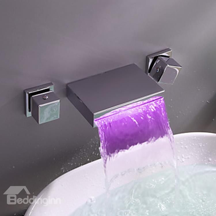 Modern Widespread Wall Mount Waterfall Three Colors Led Bathroom Sink Faucet Faucet Bathroom Live A Bet Bathroom Sink Faucets Bathroom Sink Taps Sink Faucets