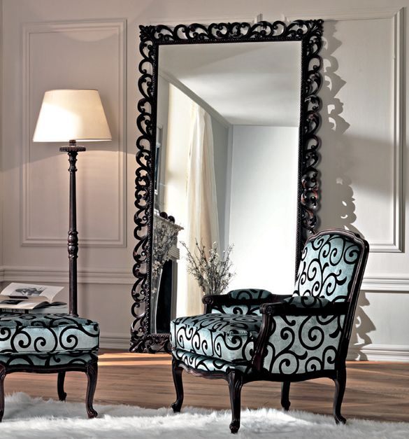 Paris Collection French Large Ornate Floor Mirror Living
