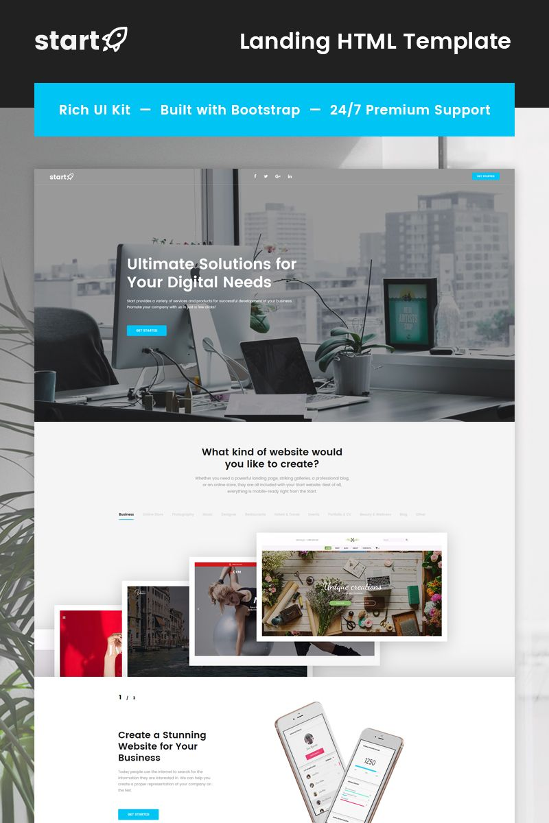 Start - Consulting Landing Page Template | Template, Google fonts ...