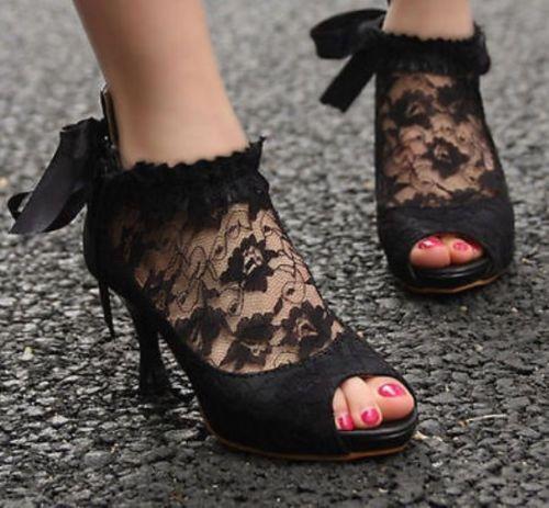 Womens+Peep+Toe+Lace+Bowknot+High+Heel+Pumps+Wedding+Ankle+Shoes+black+US6+#News+#PumpsClassics