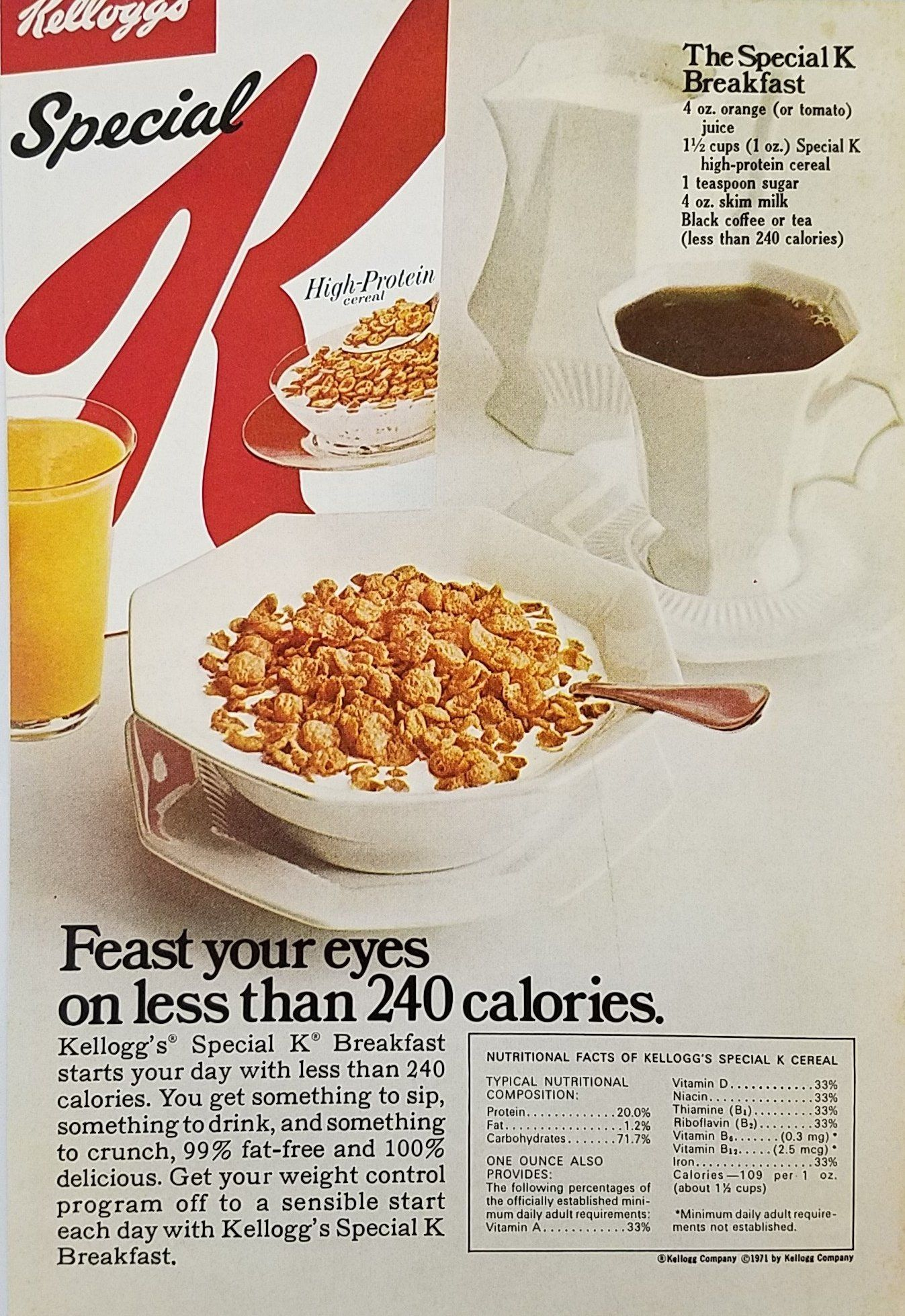 1970 S Kellogg S Special K Cereal Vintage Ad Breakfast Less Than 240 Calories