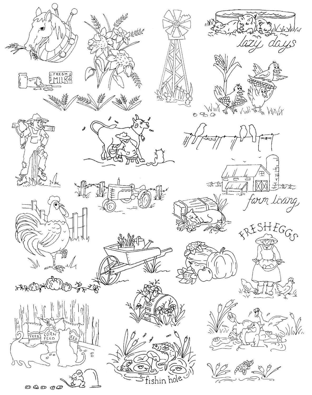 Amazon.com: Aunt Martha\'s Farm Living Embroidery Transfer Pattern ...