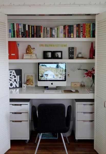 closet office. Remodelaholic | 25 Clever Closet Offices Perfect For Editing Office