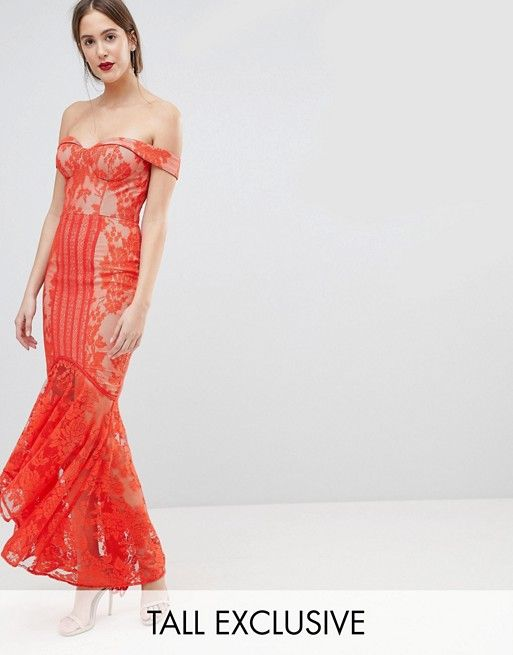 7493e8b2f6a8 Jarlo Tall All Over Lace Off Shoulder Fishtail Maxi Dress in 2019 ...