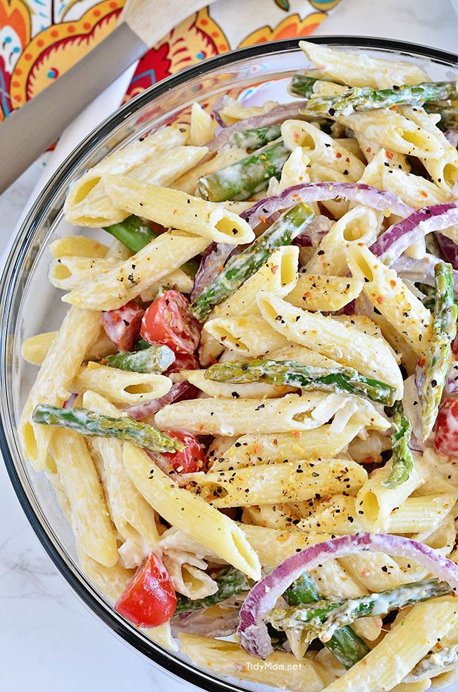 Creamy asparagus pasta salad recipe asparagus pasta for Good side dishes for grilled chicken