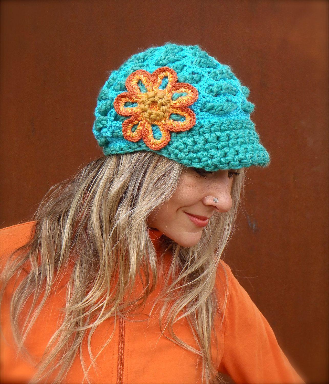 Reserved // Turquoise SLOUCHY beanie crochet Slouch Visor hat Orange ...