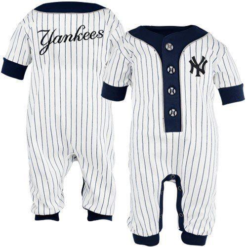 new york yankees baby uniform pinstripe coveralls 69 mos