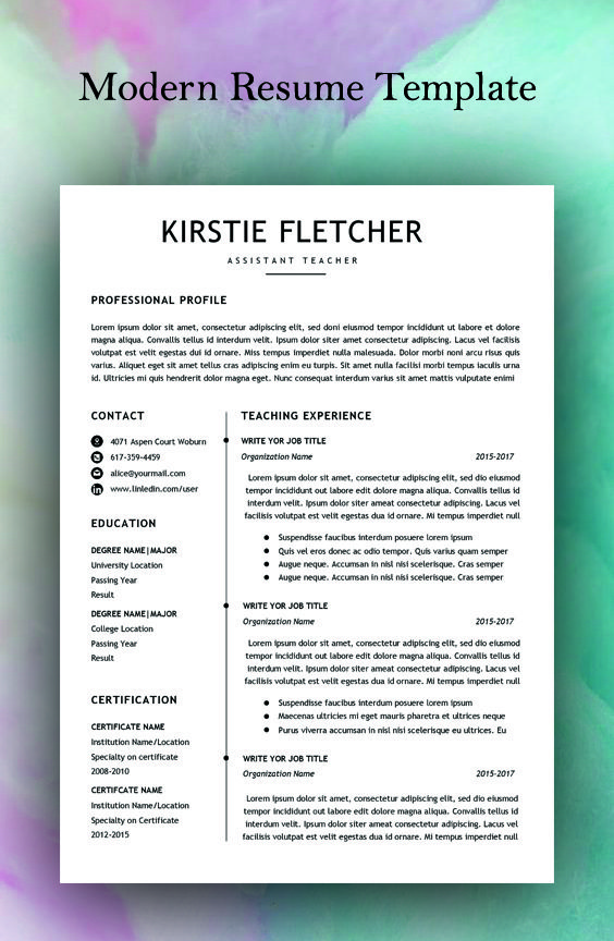 Resume Template Instant Download Professional