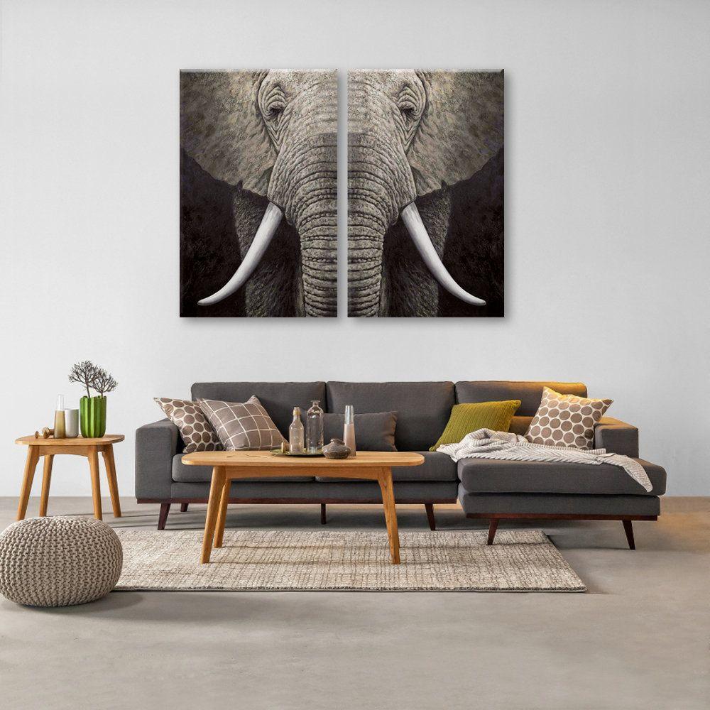Elephant wall decor 2 panels canvas art elephant head